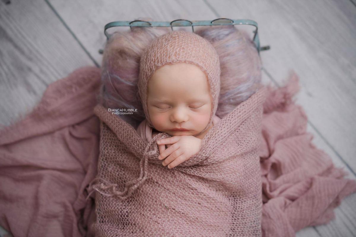 Pink Vegan Mohair Bonnet & Baby Wrap